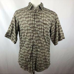 Vtg Woolrich Fish Print Casual Camp Shirt